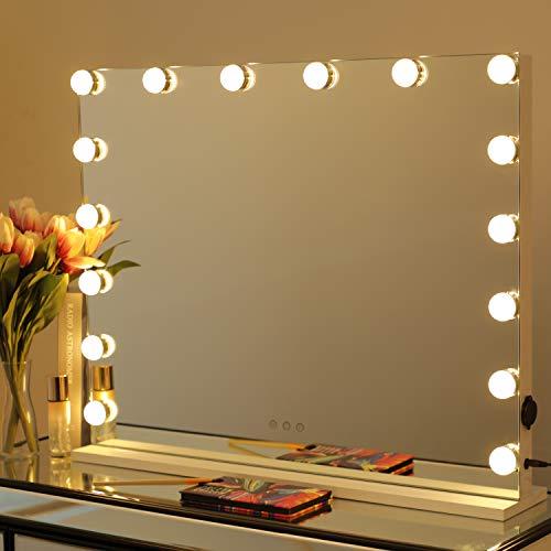 WAYKING Hollywood Spiegel Schminkspiegel mit Beleuchtung 16 Dimmbare LED Lampen Makeup Spiegel für Schminktisch groß Kosmetikspiegel Theaterspiege 3 Farbtemperatur USB Ladenanschluss Weiß 70x55 cm