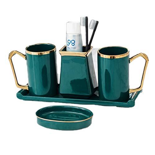 Conjunto De Accessorios De Baño, Jabonera, Dispensador De Jabon, Vaso Higiene Dental Y Vaso para Cepillos Dientes, para Baño, Cocina Verde