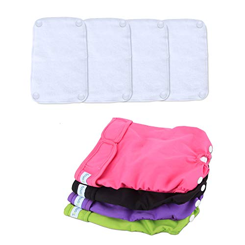 Teamoy Reusable Female Dog Diapers with Removable Pads(Pack of 4), Washable Doggie Diaper Wraps for Female Dogs, Super-Absorbent, Comfortable and Stylish, M