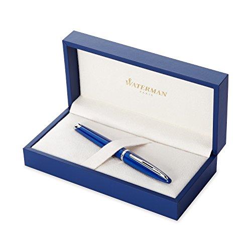 Waterman Carène Füllfederhalter (hochglänzend Blau mit Palladiumzierteilen, FederstärkeF, blaue Tinte, Geschenkbox)