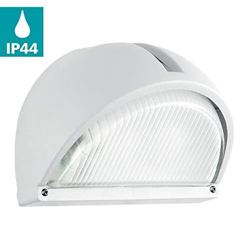 EGLO buiten-wandlamp Onja, 1 vlammige buitenlamp, wandlamp van gegoten aluminium, kleur: wit, glas: geribbeld, helder, fitting: E27, IP44