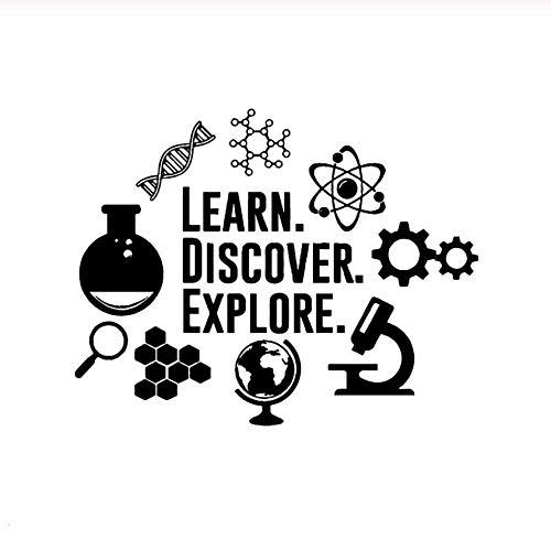 Wandtattoos Wandsticker Wandaufkleber Science Explore Discover Mikroskop Globus Lupe Kinder Lernen Zimmer Dekoration Abnehmbares Vinyl 54X43cm