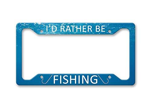 Fhdang Decor Unterwasser-Kennzeichenrahmen Id Rather Be Fishing mit Angelhaken, Blaue Wellen, Ozean, Aluminium, Nummernschild-Halterung, Auto-Zubehör, 15,2 x 30,5 cm