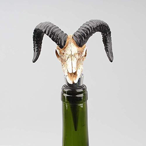 LIUSHI 2pcs 3D Bull Head Escultura Tapón de Vino Tapón de Botella para la colección de vinos Vino Tinto Champán Cerveza Sellador de Ahorro Barra de Bar Decoración de gabinete de Vino