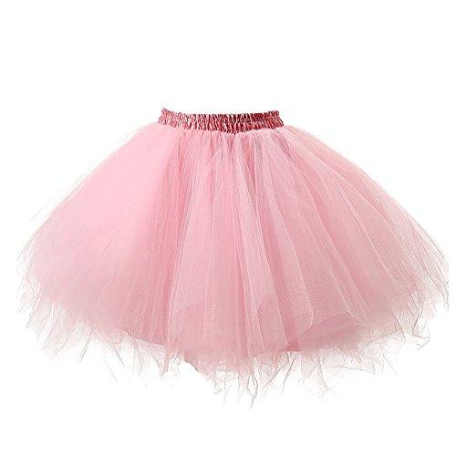 Omela Tüll Minirock Damen 50er Retro Tütü Rock Unterrock Kurz Ballett Swing Petticoat, Pink, 50-54