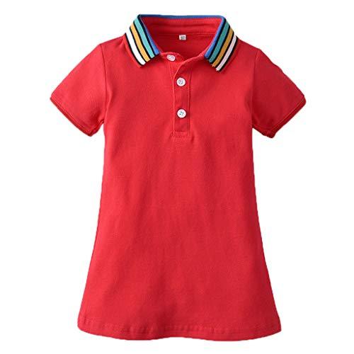 Niña Polo Vestido Manga Corta del Arco Iris Camiseta Collar T Shirt Tops Vestidos De Ropa