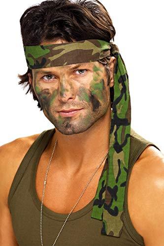 Fancy Me Herren Damen Armee Tarnmuster Rambo Stirnband Schal Kostüm Verkleidung Zubehör