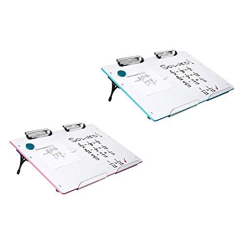 Visual Edge Slant Board 2 Pack (Blue/Pink) - Homeschooling Sloped Learning Station for Kids Optimal Reading and Writing - Portable Desktop Magnetic Dry Erase White Board