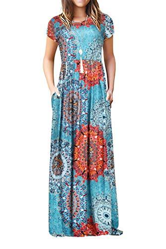 Damen Sommerkleider Kurzarm Lose Blumen Maxikleider Casual Lange Kleider mit Taschen, Blumen-blau, S