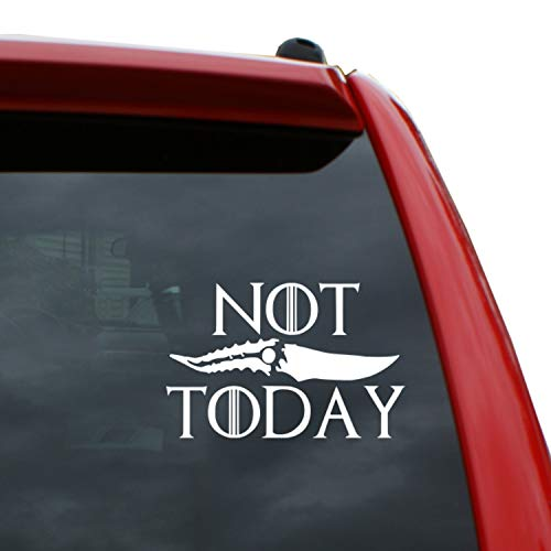 Black Heart Decals & More Game of Thrones - Not Today Dragonglass Dagger Vinyl Decal Sticker | Color: White | 5 x 3.3