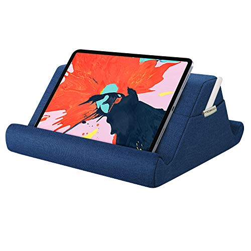 MoKo Tablet Pillow Holder, iPad Pillow Stand Multi-Angle Soft Tablet Stand Up to 12.9', Lap Pillow for eReader Book, Fit iPad 10.2 2020, Air 4 10.9, Air 3, iPad Pro 11/12.9,Galaxy Tab S6/S7, Navy Blue