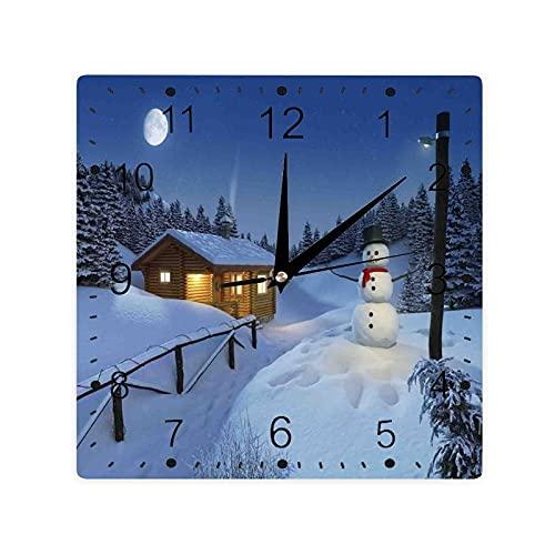 Madera rústica de madera de la cabaña paisaje en la temporada de invierno cálido luz de la luna espíritu color cuadrado Morden reloj Slient
