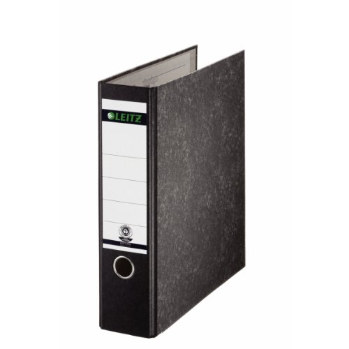 Leitz 10700000 Qualitäts-Ordner (Wolkenmarmor-Papier, A4, 7,8 cm Rückenbreite, Ohne Schlitze) schwarz
