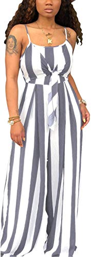 SxClub Women's Sexy Sleeveless Strap Striped Jumpsuits Plus Size Casual Spaghetti Backless Hollow Out Loose Wide Leg Long Palazzo Pants Rompers Comfy Stretchy Outfits Bow-Knot