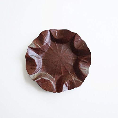 Flexible Hanji-Papierschale Lotusblatt (M) Braun – Ablage / Servierschale aus traditionellem Hanji-Papier: leicht, formbar und wasserabweisend