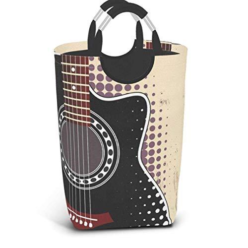 Cesta de cesto de lavandería con labios rojos y blancos de guitarra acústica negra, plegable con asas, ropa sucia impermeable