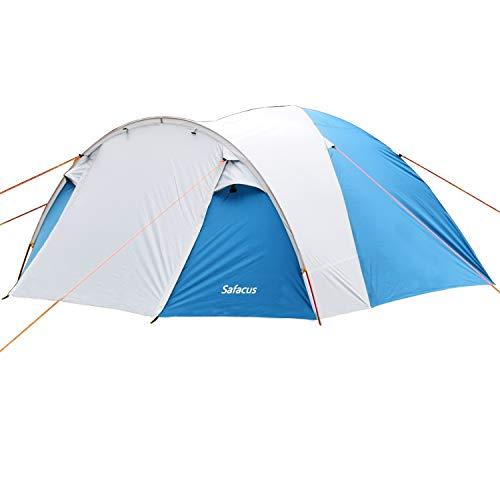SAFACUS 4 Mann Camping Zelt, mit Vorraum; Iglu-Zelt für 4 Personen (doppelwandig) - blau, Mit Kleinem Packmaß, Outdoor, Festival