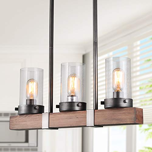 LNC Chandelier, Glass Pendant Light for Kitchen Island in Rustic Wood and Metal, Farmhouse Hanging Lamp for Dining Room