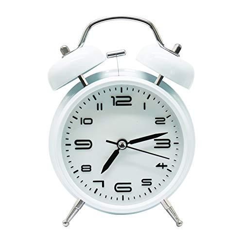 XIAQIU Reloj Despertador de Doble Campana, 4 Pulgadas Analógico Despertador de Cuarzo Silencioso Sin Tictac, Vintage Despertador con Luz de Noche para durmientes Pesados (Blanco)
