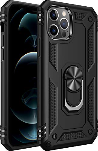 Amuoc Compatible with iPhone 12 case, Compatible with iPhone 12 Pro Case [Military Grade] 15ft. Drop Tested Protective Case   Kickstand   6.1 Inch 2020-Black