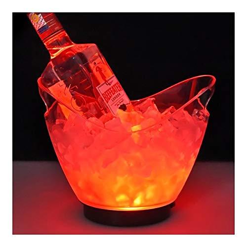 YNuo Nueva Transparente a la luz Cubo de Hielo Material acrílico 2 litros LED de Colores Champagne Cerveza del Barril de Vino 5 Color Opcional (Color : Red)