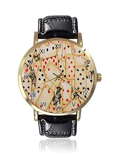 Casino Old Playing Cards Reloj de Pulsera de Moda Unisex Mujeres Hombres Analógicos Relojes de Cuarzo Dial Oro Correa de Cuero Reloj de Pulsera