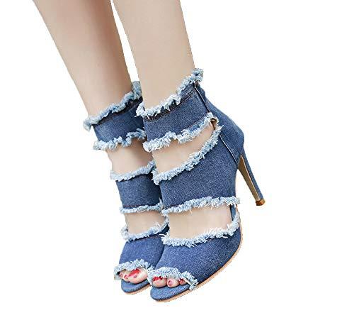 Zomer schoenen enkellaarzen voor dames cowboy denim hoge hakken sexy peep-toe uitgehold sandalen dames plus size