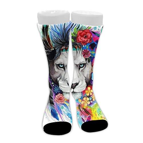 Bingyingne Calcetines coloridos del equipo del amortiguador transpirable del tobillo alto floral blanco con flores del Rey León para hombres, mujeres, niñas y niños