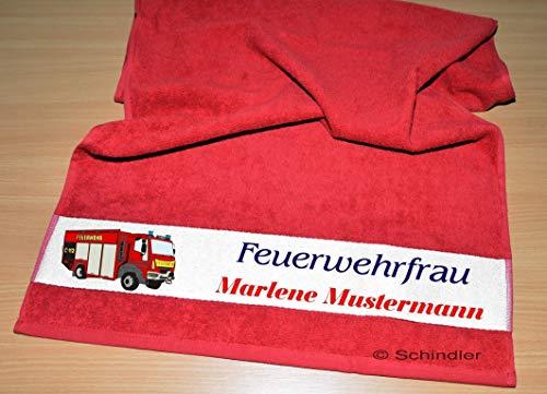 """bedruckte Frottiere Handtücher oder Dusch/Badetücher - Motiv """"Feuerwehrfrau"""
