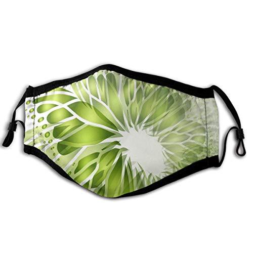 Mundschutz Verstellbarer Staubschutz für Unisex-Männer Frauen Abstrakt-grüner Hintergrund mit Schmetterling Erwachsene Mode-Gesichtsabdeckungen mit verstellbarem Gummiband