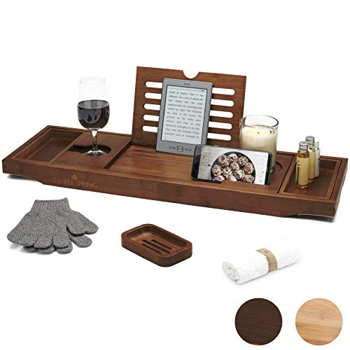 Temple Spring Bath Caddy with candle, wine glass, book, tablet, ipad & phone holder. Extendable/adjustable bridge, Natural wood over bathtub tray.100% bamboo (Brown)