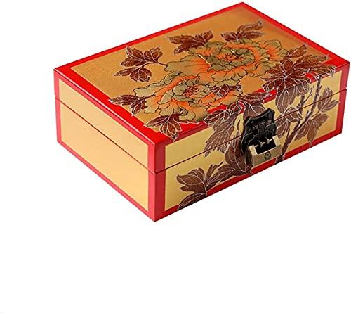 POUAOK Caja organizadora de Joyas pequeña, Organizador de Joyas de 2 Niveles con Cerradura incorporada en el Espejo, Almacenamiento para Collar, Pendientes, Pulseras, Organizador.(Color:C,Size:)