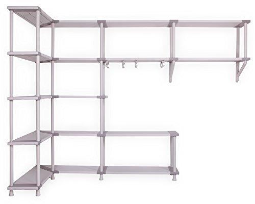 Ondis24 Modulares Regalsystem für die Ecke Freedom zur Wandmontage, Schwerlastregale mit Ecklösung und Kleiderstangen