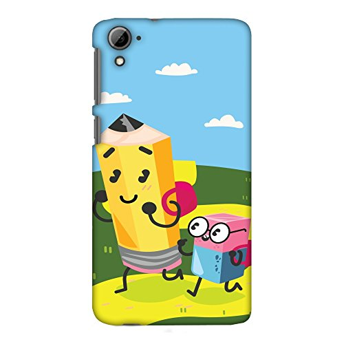 AMZER Slim Fit Handcrafted Designer Printed Hard Shell Case Back Cover for HTC Desire 826 - Cute Pencil & Eraser