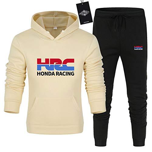 Hombre y Mujer Chándal Para H.R.C Team Color Sólido Suéter de Dos Piezas con Capucha Pantalones Ropa Deportiva Parte Superior SPONYBORTY/Beige/L