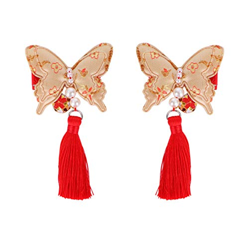 STOBOK 1 Paire de Pinces à Cheveux de Style Chinois Pinces à Cheveux Gland Papillon Forme Barrettes de Cheveux de Noël Vacances fête du Nouvel an Cadeaux pour Enfants Filles Or