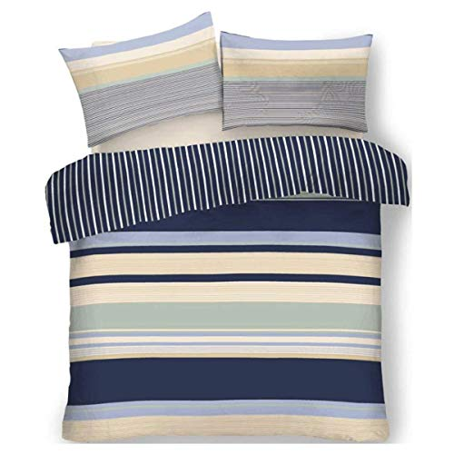 FAIRWAYUK Stripe Bedding Set Reversible Quilt Duvet Cover With Pillow Case Easy Care King
