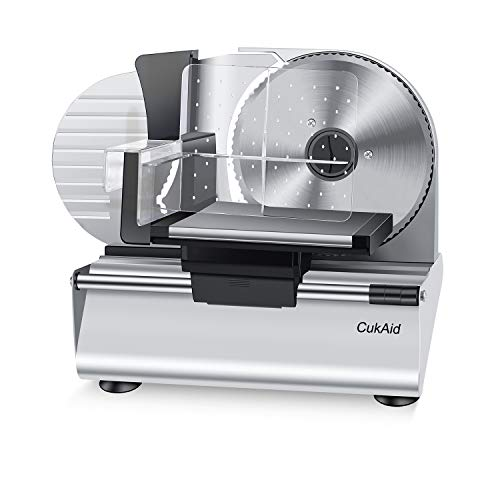 CukAid Electric Meat Slicer Machine, Deli Cheese Bread Food Slicer, Dishwasher Safe, Removable Stainless Steel Blade & Food Carriage and Pusher, 7/8 Inch Adjustable Thickness