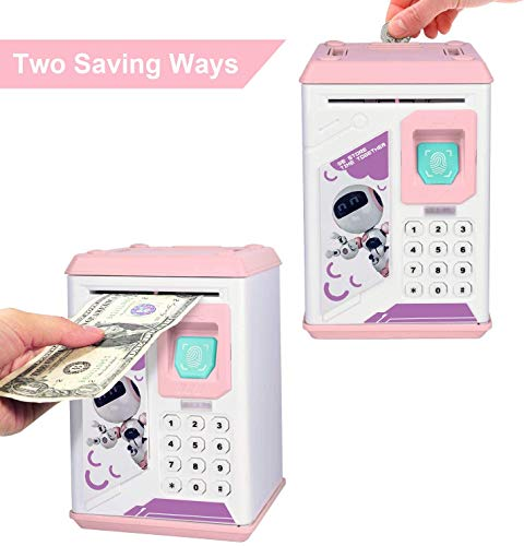 Kids Piggy Bank, Money Bank with Electronic Lock Auto Scroll Paper Money & Coin, Best Toy Gifts for Children Boys Girls .is a Singing Robot(Pink)
