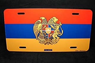 Yilooom Armenian Flag with Coat of Arms Metal Novelty License Plate Flag of Armenia Auto Car Novelty Accessories License Plate Art