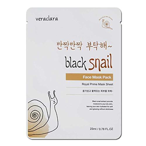 [Veraclara] Prime Facial Mask - Black Snail (16 Pack) Korean Skincare   Lighten, Moisturize, Firming Skin   Diminish Dark Spot & Circles