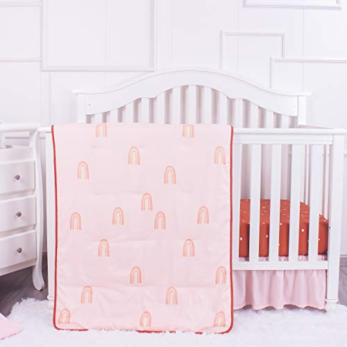 La Premura Boho Rainbow Baby Nursery Crib Bedding Set, 3 Piece Standard Size Crib Bedding Sets, Brown & Natural