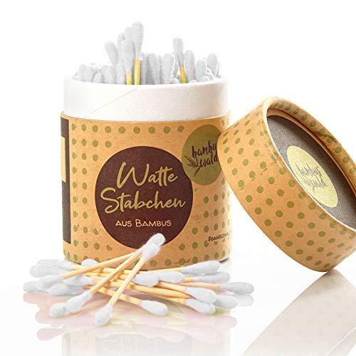 Cotons-tiges en bambou (200x) | 100% biologique, durable et zéro déchet ! Bâtonnets d'oreille ou bâtonnets de soin avec tête en coton dans une boîte élégante