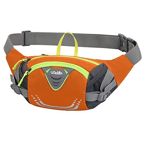 Marsupio Sportivo Running Outdoor Escursioni Cintura Corsa da Uomo Donna Impermeabile con la Tracolla Regolabile per Corsa Ciclismo Escursione Campeggio (Arancione)