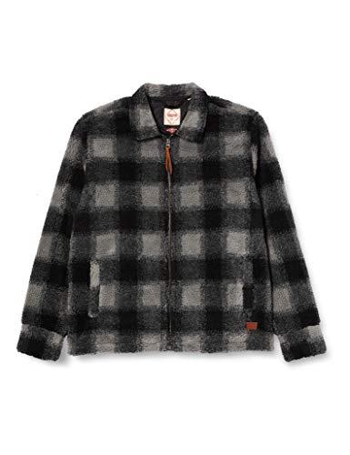 Superdry Mens Sherpa Trucker Jacket Fur Coat, Black Check, Medium