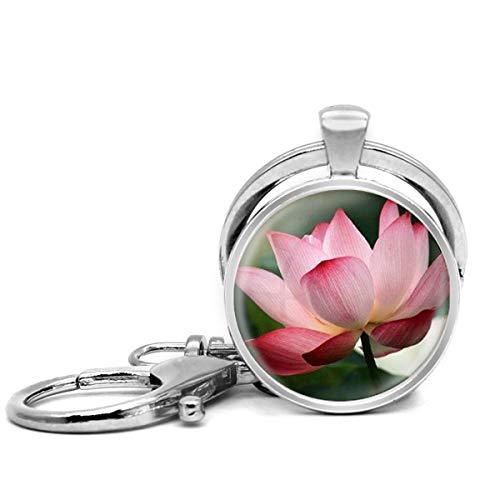 Llavero de acero inoxidable con llavero, ligero y decorativo, ideal como regalo para hombres y mujeres, arte de verano Lotus