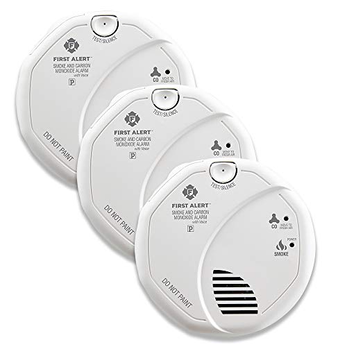 FIRST ALERT BRK SC7010BV-3 Hardwired Talking Photoelectric Smoke and Carbon Monoxide (CO) Detector, 3-Pack