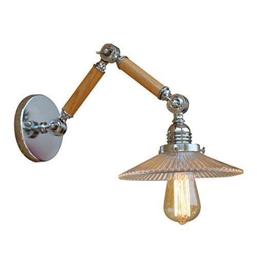 Z-W-DONG lange arm wandlamp, indoor houten palen wandlamp bar restaurant slaapkamer gang loft decoratieve wandlamp engineering wandlamp E27 afzonderlijke hoofd verlichting decoratie