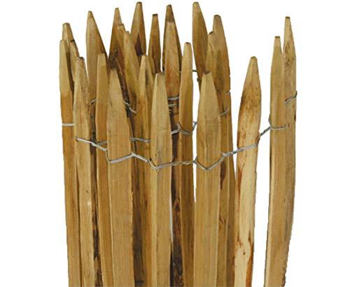 bambus-discount.com Staketenzaun Kastanie munic 120 x 300cm mit 3 Drähten, Abstand Staketen 3-5cm