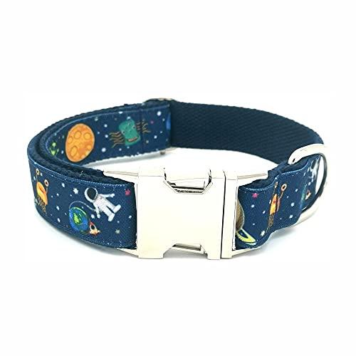 Personalizado Space Monster Collar para Mascotas Durable Personalizado Nombre de Cachorro Etiqueta de identificación Ajustable Rocket Planet Alien Collar de Perro básico -Collar-1_L